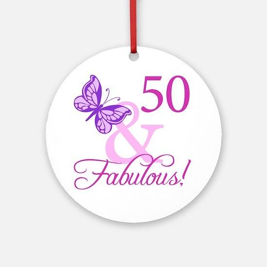 50 & Fabulous (Plumb) Ornament (Round)