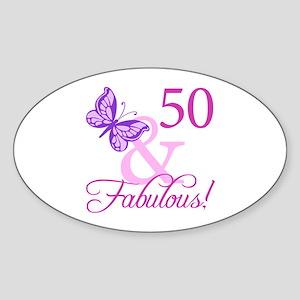 50 & Fabulous (Plumb) Sticker (Oval)