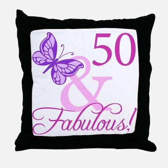 50 & Fabulous (Plumb) Throw Pillow