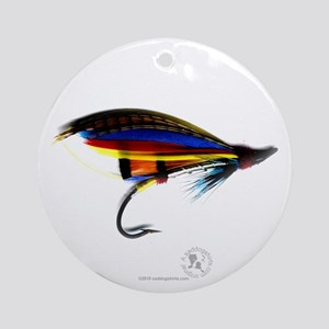 Silver Doctor Salmon Fly Ornament (Round)