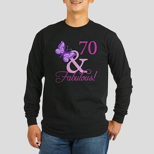 70 & Fabulous (Plumb) Long Sleeve Dark T-Shirt