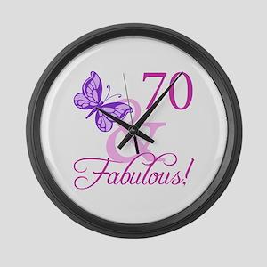 70 & Fabulous (Plumb) Large Wall Clock