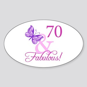 70 & Fabulous (Plumb) Sticker (Oval)