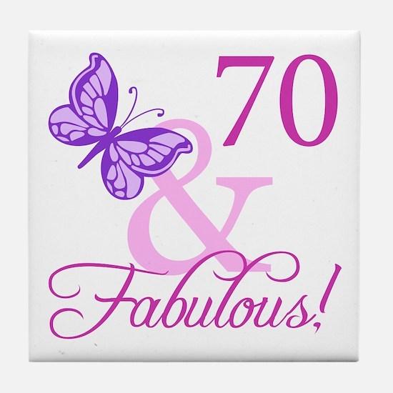 70 & Fabulous (Plumb) Tile Coaster
