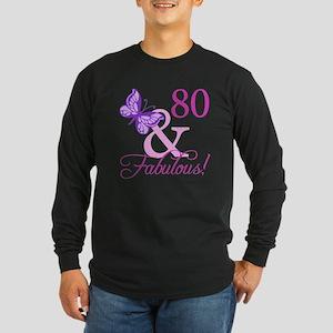 80 & Fabulous (Plumb) Long Sleeve Dark T-Shirt