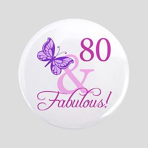 "80 & Fabulous (Plumb) 3.5"" Button"