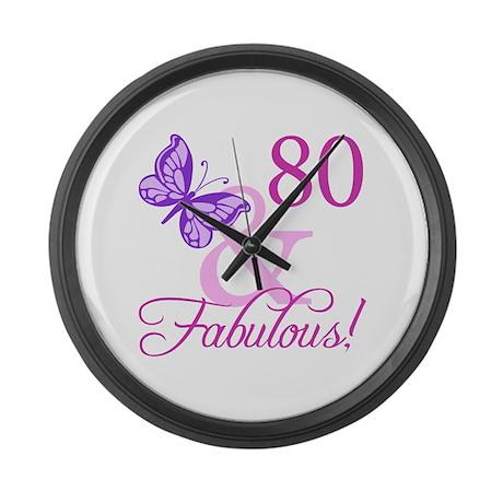 80 & Fabulous (Plumb) Large Wall Clock
