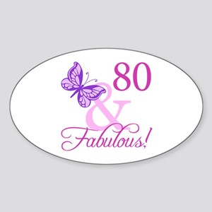 80 & Fabulous (Plumb) Sticker (Oval)