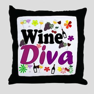 Wine Diva (Purple Flowers) Throw Pillow