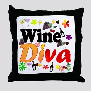 Wine Diva (Orange Flowers) Throw Pillow