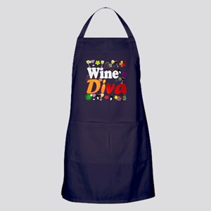 Wine Diva (Orange Flowers) Apron (dark)