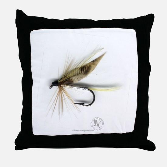 Cummins Wet Fly (March Brown) Throw Pillow