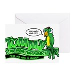 Tommy the Insulting Parrot Lo Greeting Cards (Pk o