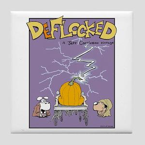 Deflocked Pumpkin Tile Coaster