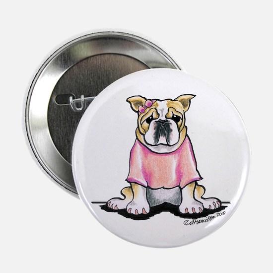 """Girly Bulldog 2.25"""" Button"""