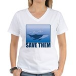 Save The Whales Women's V-Neck T-Shirt