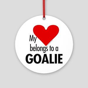 Heart belongs, goalie Ornament (Round)