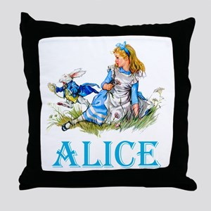 ALICE IN WONDERLAND - BLUE Throw Pillow