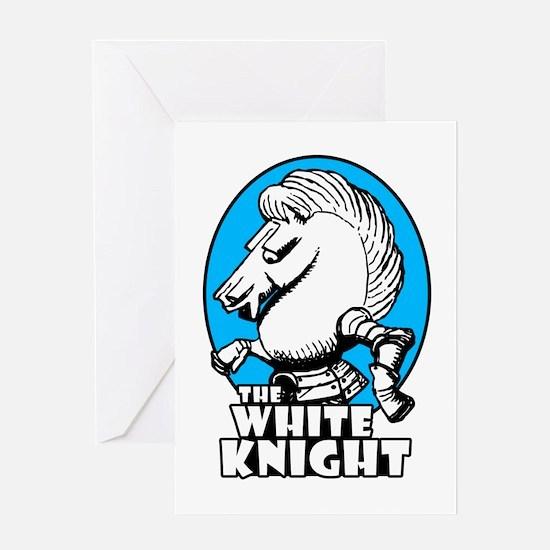 White Knight Logo Sky Blue Greeting Card