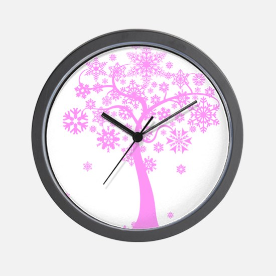 Winter Snowflake Tree Wall Clock