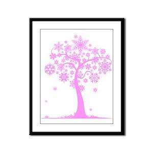 Winter Snowflake Tree Framed Panel Print