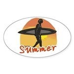 Summer Surfer Sticker (Oval)