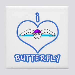 I Love Butterfly! Tile Coaster