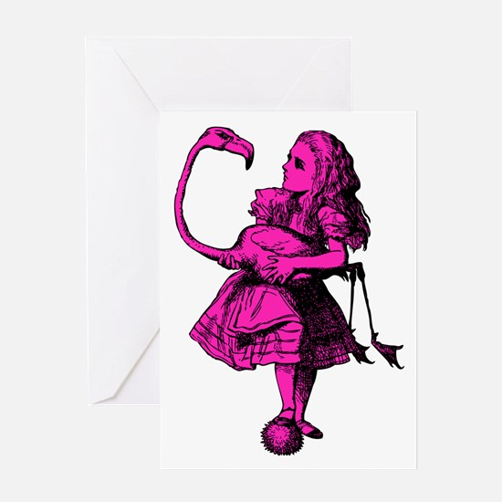 Alice and Flamingo Pink Fill Greeting Card