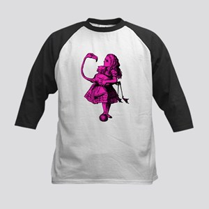 Alice and Flamingo Pink Fill Kids Baseball Jersey