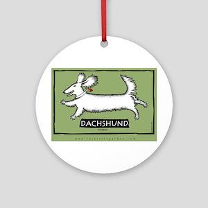 Dancing Dachshund - Longhair Ornament (Round)