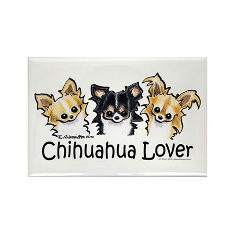 Longhair Chihuahua Lover Rectangle Magnet (10 pack