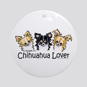 Longhair Chihuahua Lover Ornament (Round)