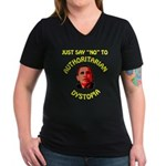 Dystopia Women's V-Neck Dark T-Shirt