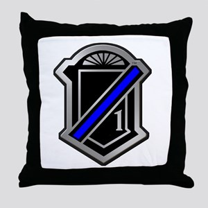 One Blue Line Throw Pillow
