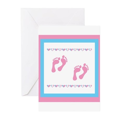 Twin Footprints - Pink Greeting Cards (Pk of 10)
