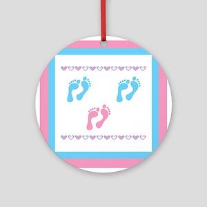 Triple Set of Footprints - 2 Ornament (Round)