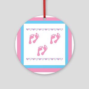 Triple Set of Footprints - Pi Ornament (Round)