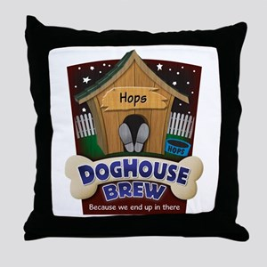 Doghouse Brew Throw Pillow