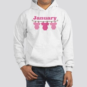 Pink January Baby Announcement Hooded Sweatshirt