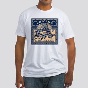 Navy Pier Box Design Fitted T-Shirt