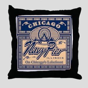 Navy Pier Box Design Throw Pillow
