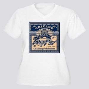 Navy Pier Box Design Women's Plus Size V-Neck T-Sh