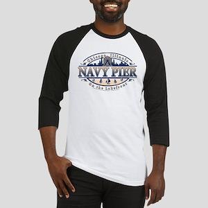 Navy Pier Oval Stylized Skyline design Baseball Je