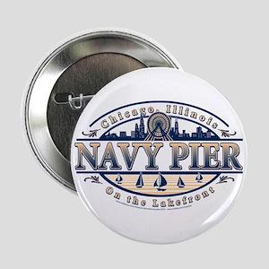 """Navy Pier Oval Stylized Skyline design 2.25"""" Butto"""