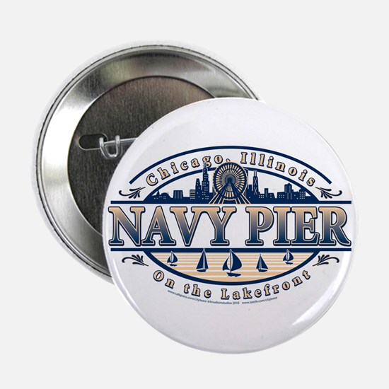 "Navy Pier Oval Stylized Skyline design 2.25"" Butto"