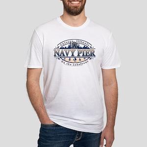 Navy Pier Oval Stylized Skyline design Fitted T-Sh