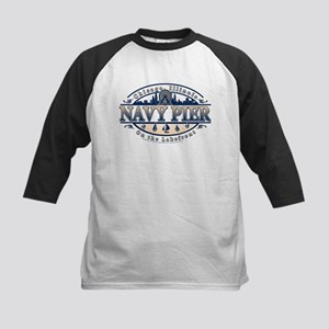 Navy Pier Oval Stylized Skyline design Kids Baseba