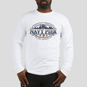 Navy Pier Oval Stylized Skyline design Long Sleeve