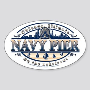 Navy Pier Oval Stylized Skyline design Sticker (Ov
