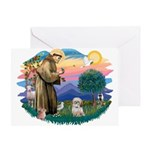 St Francis #2 / Shih Tzu. (P) Greeting Card